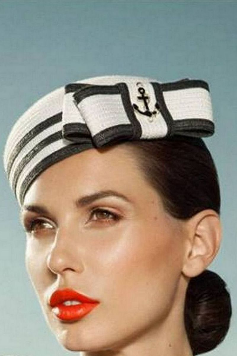 Buy Women`s stylish black and white pillbox hat in retro style, Summer designer cap for ladies