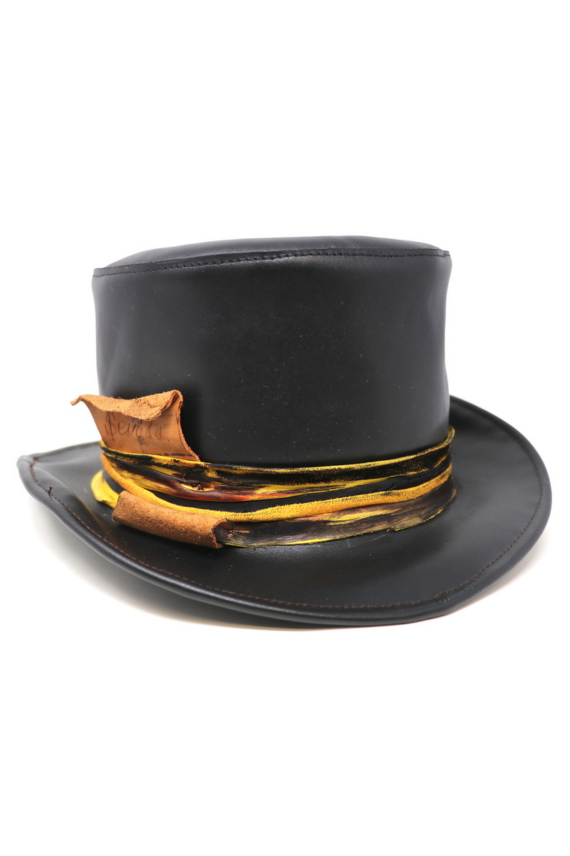 Buy Top-Hat Black/Yellow, Leather Rockstar Festiv Party Concert Casual Hat