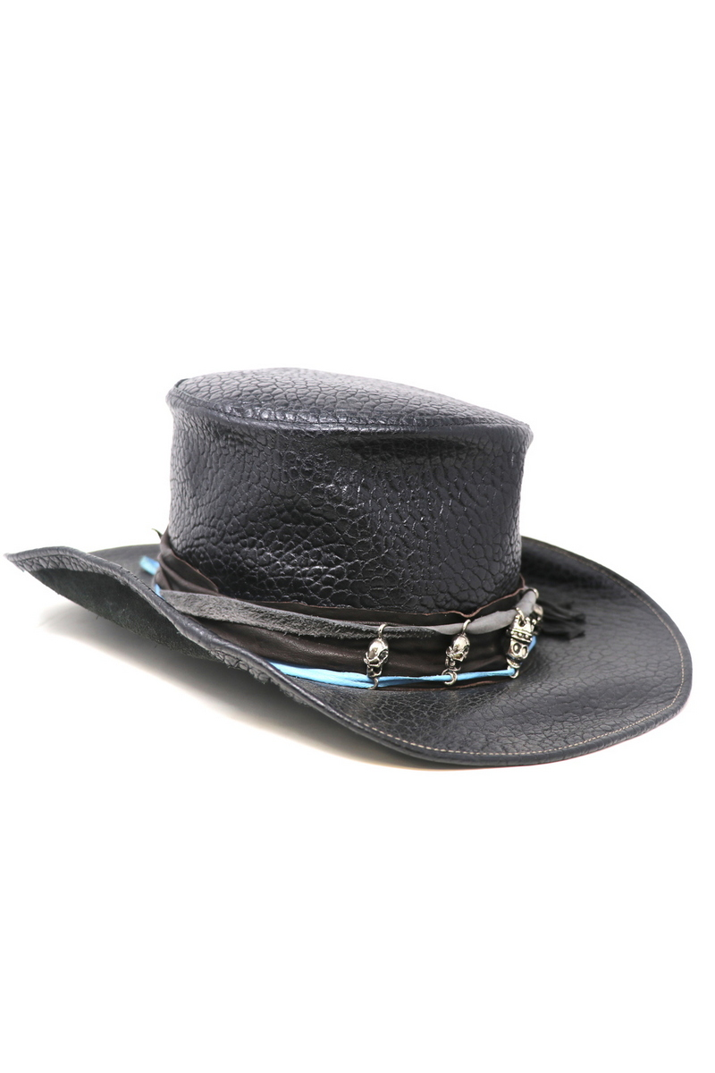Buy Revenger Skull Hat, Black Leather Rock Festive Party Metall Handmade Hat