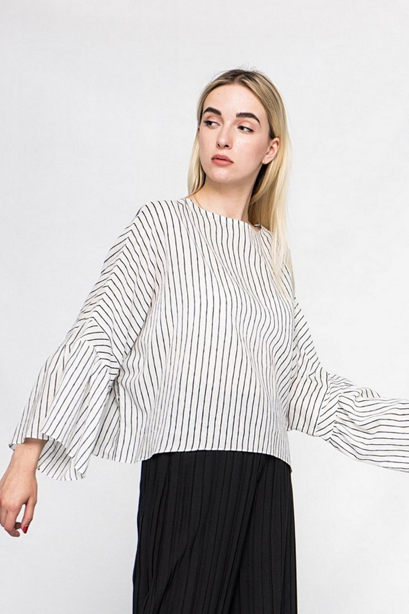 Buy Women summer oversize striped cotton blouse, Stylish loose casual ladies blouse
