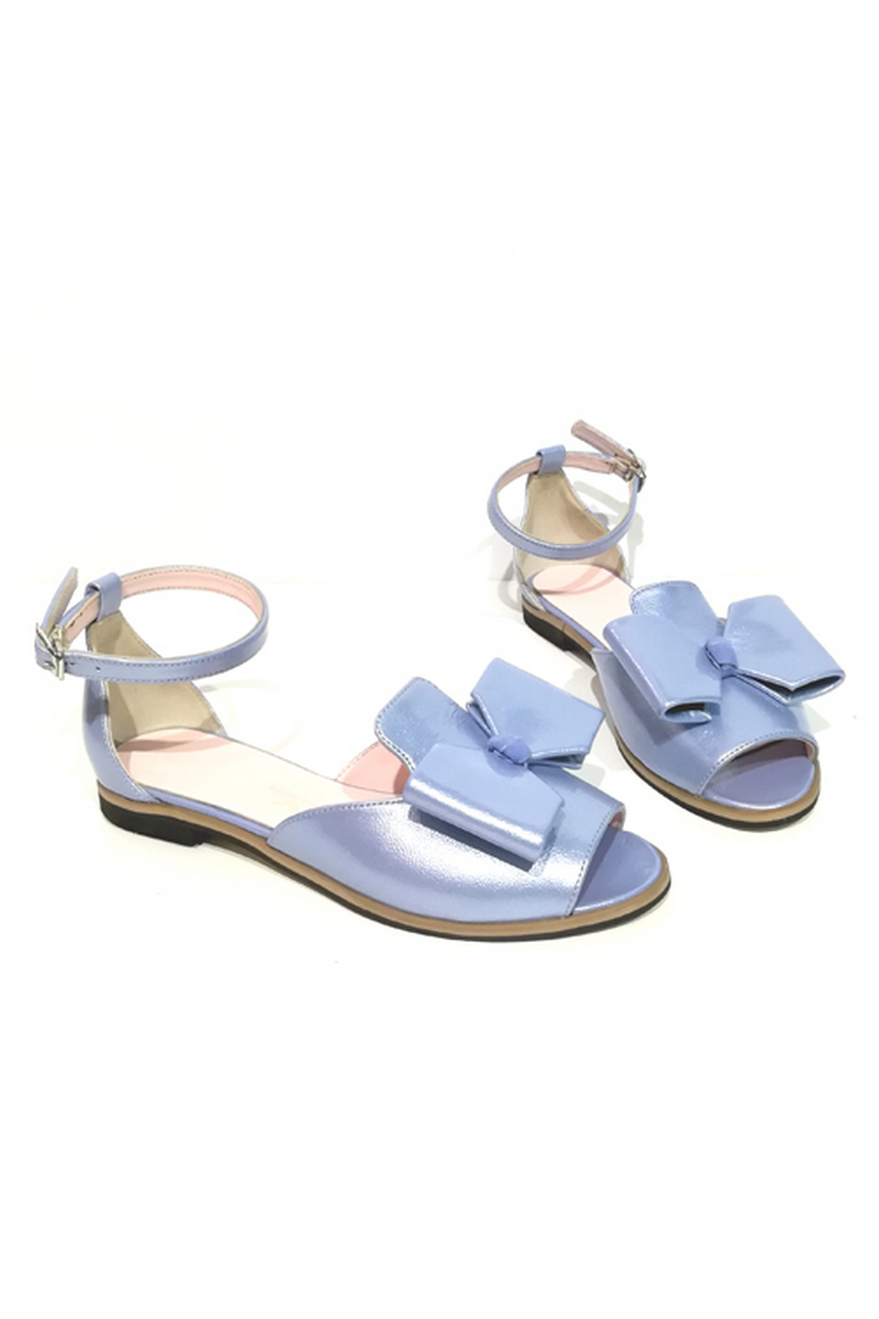 Buy Sandals Women`s Closed Heel Open Toe Bow Leather Comfortable Blue Strap, Designer shoes