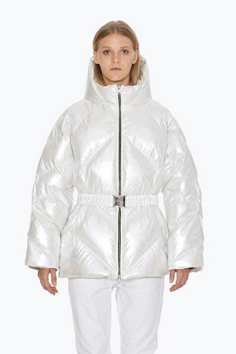 Buy Short Lightweight White Women Zipper Warm Winter Downcoat, Stylish Comfortable Outwear