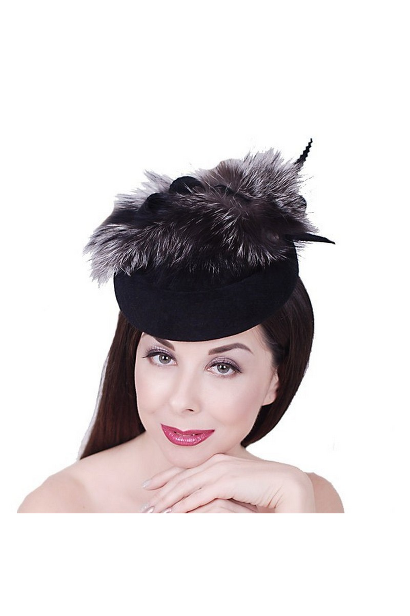 Buy Black Felt silver fox Pillbox Hat, Retro Exclusive Designer Limited Hat