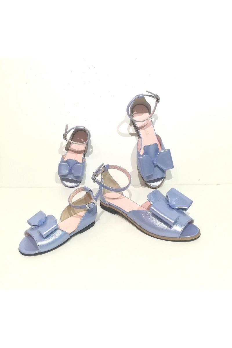 Sandals Women`s Closed Heel Open Toe BowLeather Comfortable Blue Strap, Designer shoes