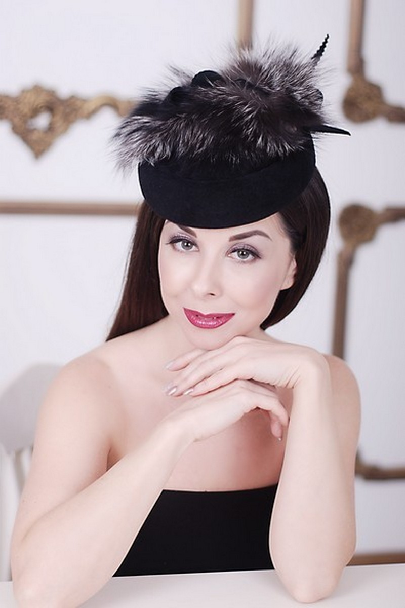 Black Felt silver fox Pillbox Hat, Retro Exclusive Designer Limited Hat
