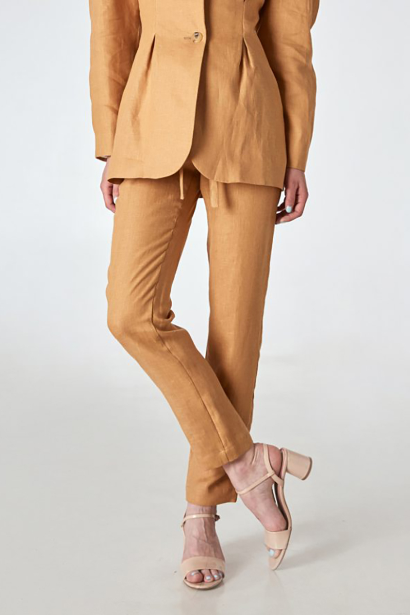 Buy Skinny cropped elastic wais beige women casual office trousers