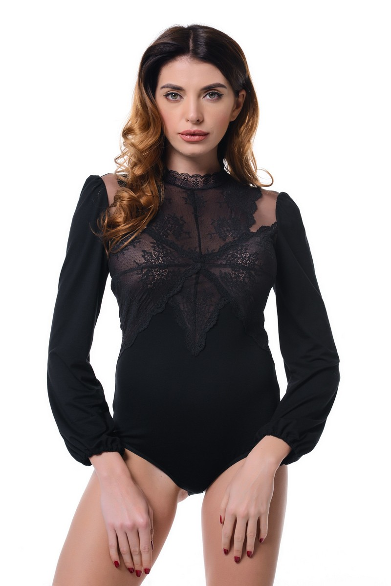 Buy Lace Black Office Business Cotton Buttons Long Sleeve Elegant Blouse body