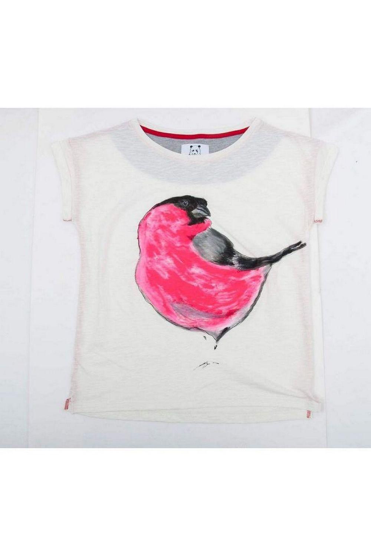 Buy Women White Cotton Print cropped tee shirt , Sleeveless Bird tshirt, Unique stylish t shirt