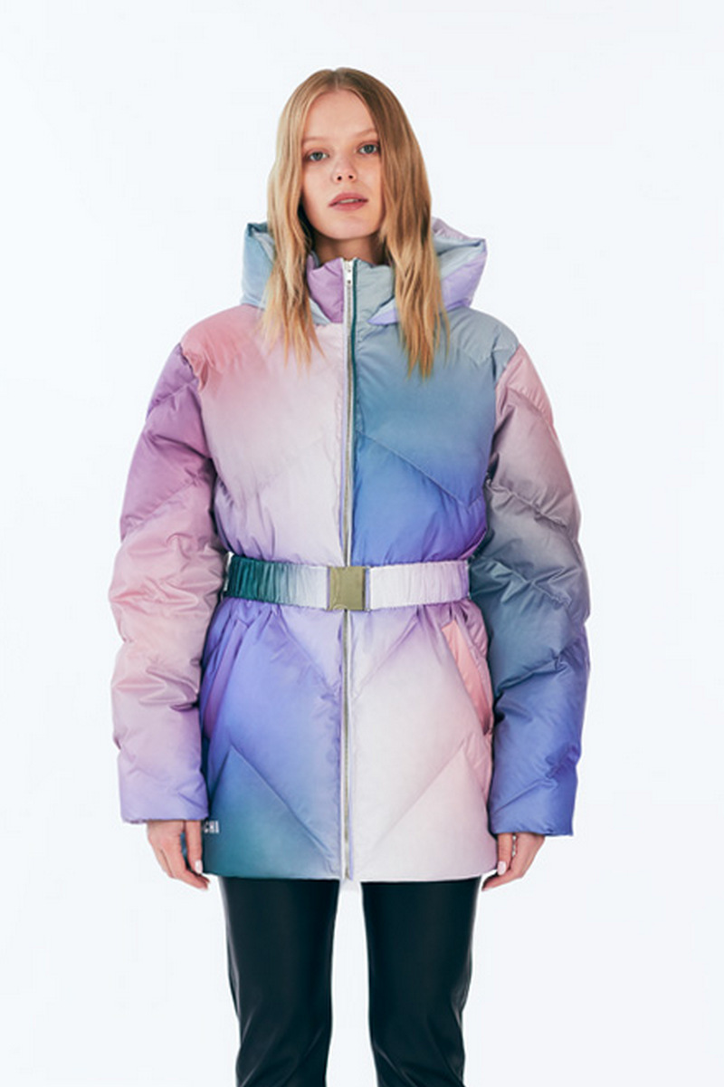 Buy Women's Multicolor Long-Sleeve Full-Zip Water-Resistant Hooded Puffer Jacket Winter Coat