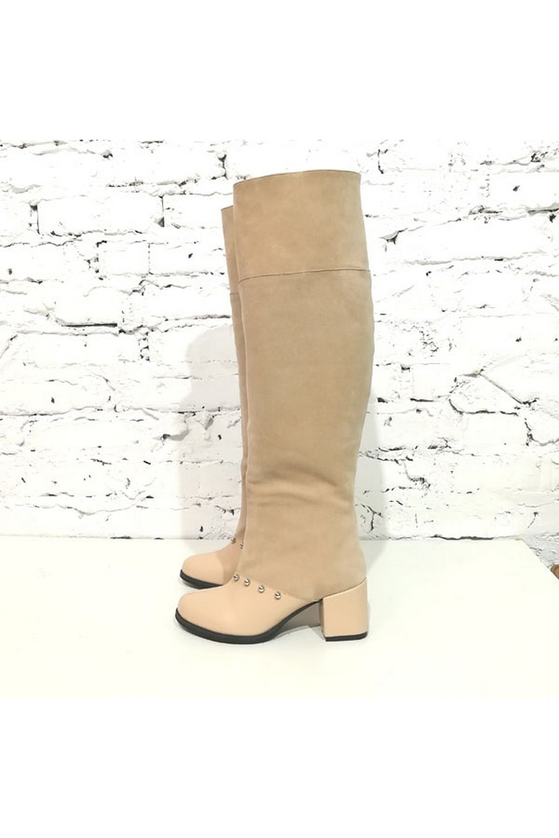 Buy Tall beige Women`s real suede leather heel beads demi-season comfortable stylish designer boots