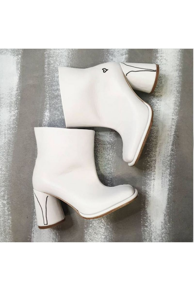 Buy Women White Square Toe Comfy Leather Heel Ankle Booties with ironic pattern