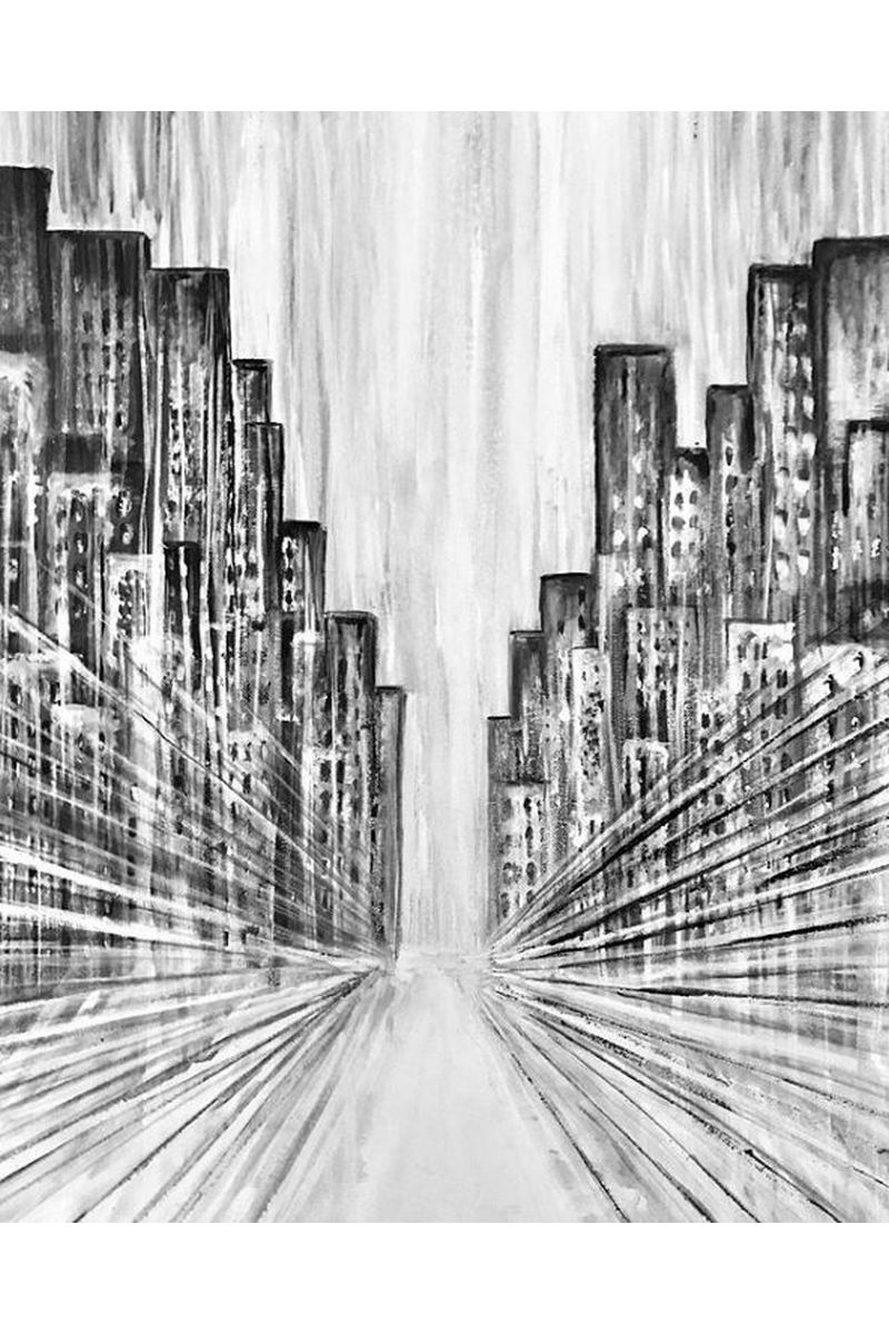Buy Black and white acrylic painting City, Modern art big monochrome canvas