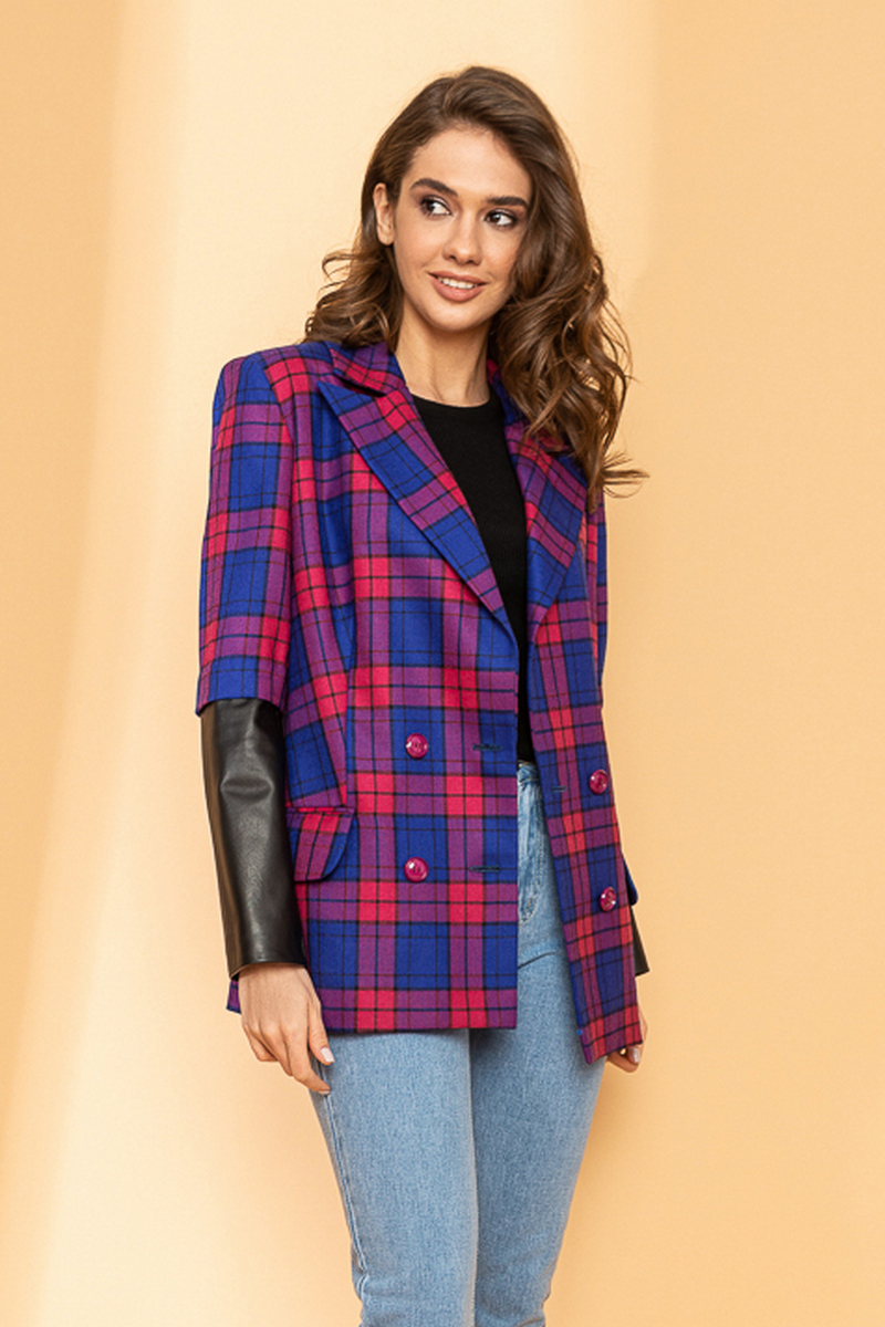 Buy Elegant wool casual double-breasted plaid jacket for women, genuine leather inserts for office