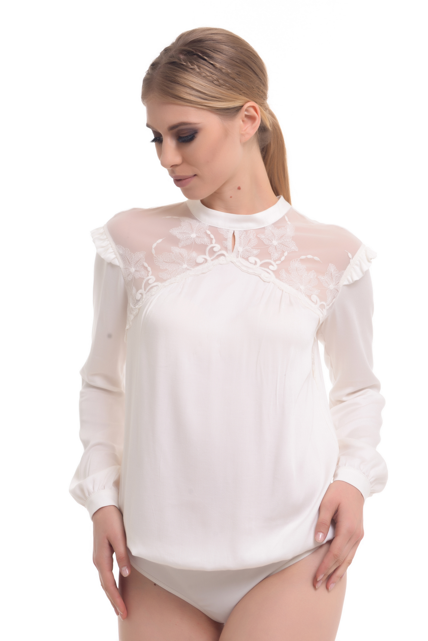 Buy Women White blouse body for Summer, Long sleeve Business Office clothies by Arefeva