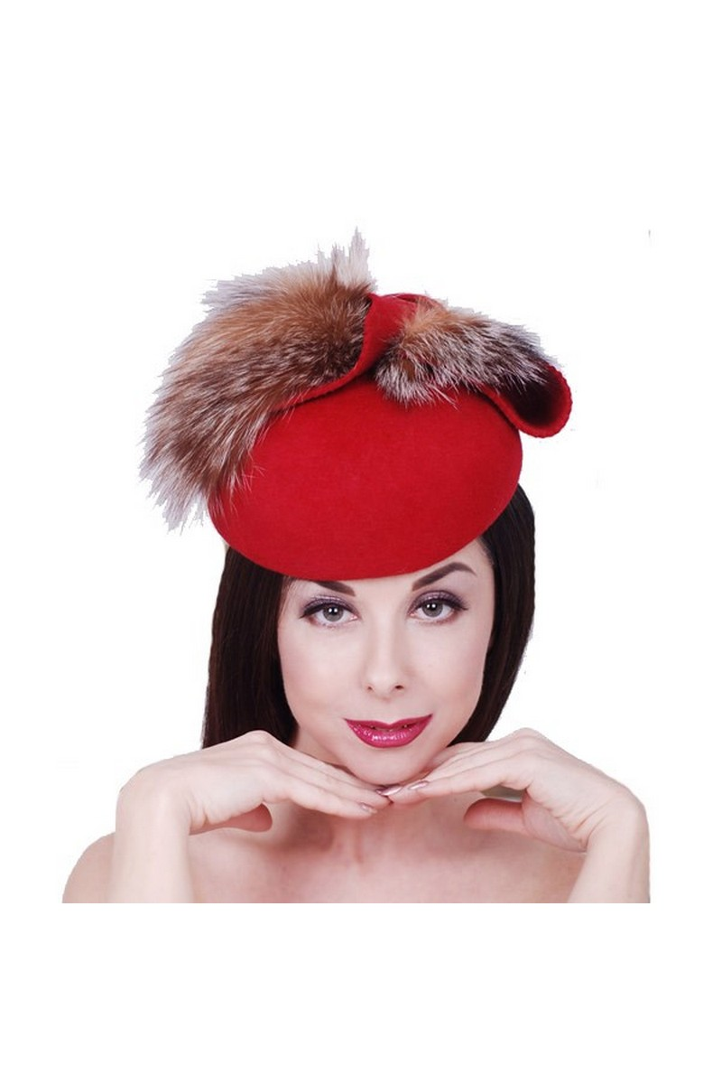 Buy Round small red felt hat fox fur, Retro style classic women handmade hat