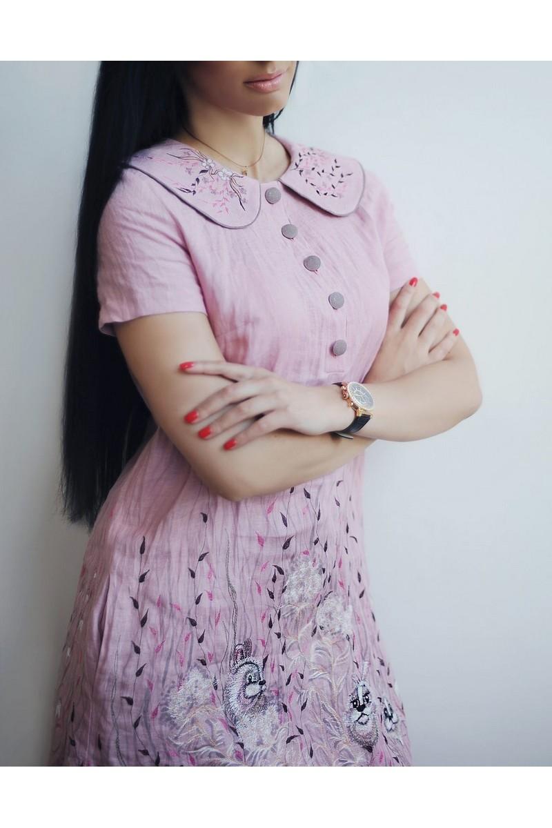 Charming powdery trapeze comfortable stylish embroidered dress