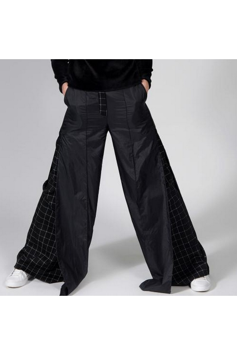 Buy Stylish women black flared pants, unique designer сheckered trousers
