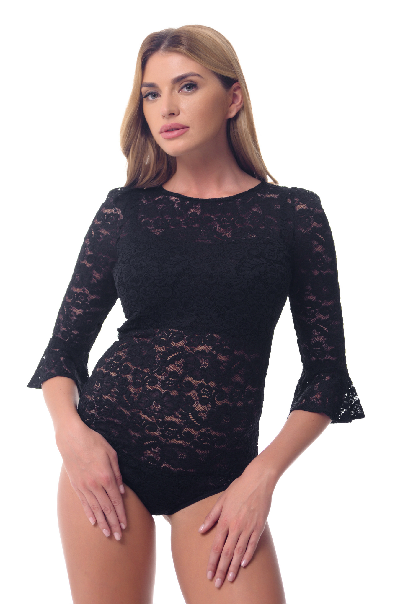 Buy Women Black blouse body Lace Guipure Elegant Business Office clothing by Arefeva