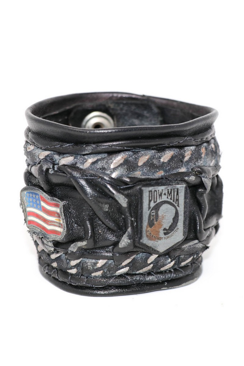 Buy Chained Red White and Blue POW Leather Wristband, Black Leather Wristband, Rock Punk bracelet