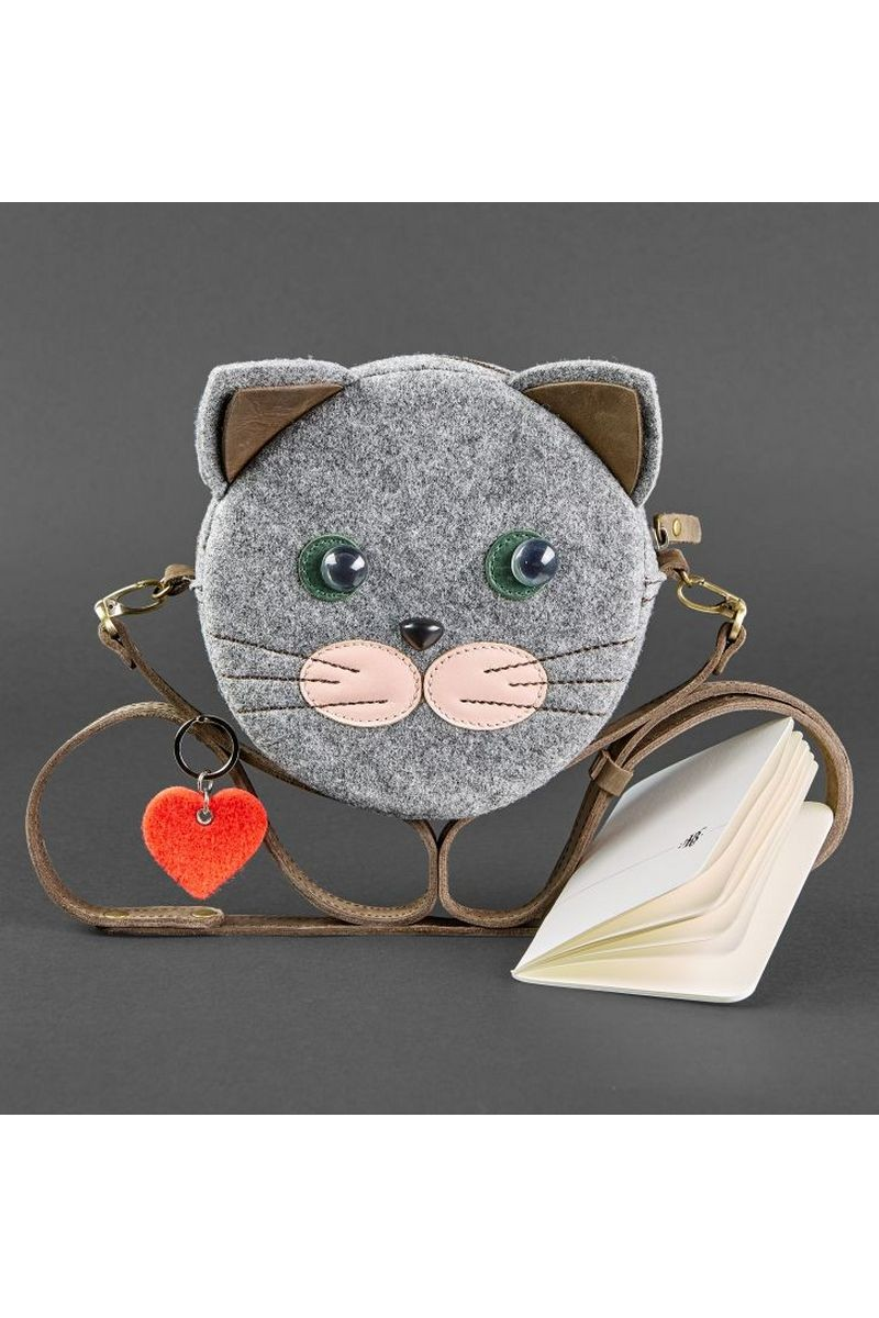Buy Girl's felt gray small kitty crossbody handmade bag