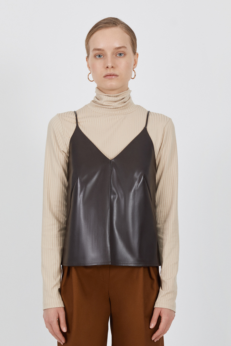 Buy Chocolate eco-leather V neck top, sleeveless casual party club women stylish top
