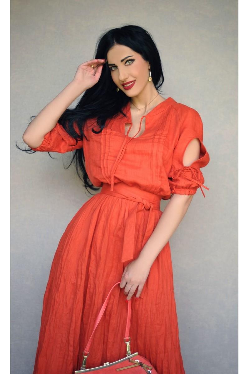 Buy Stylish Linen Coral Party Summer Designer Comfort Feminine Dress