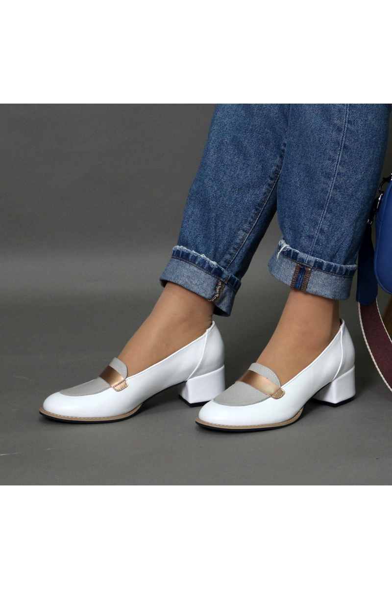 Buy Loafers heel white leather shoes, round toe women stylish comfortable casual shoes