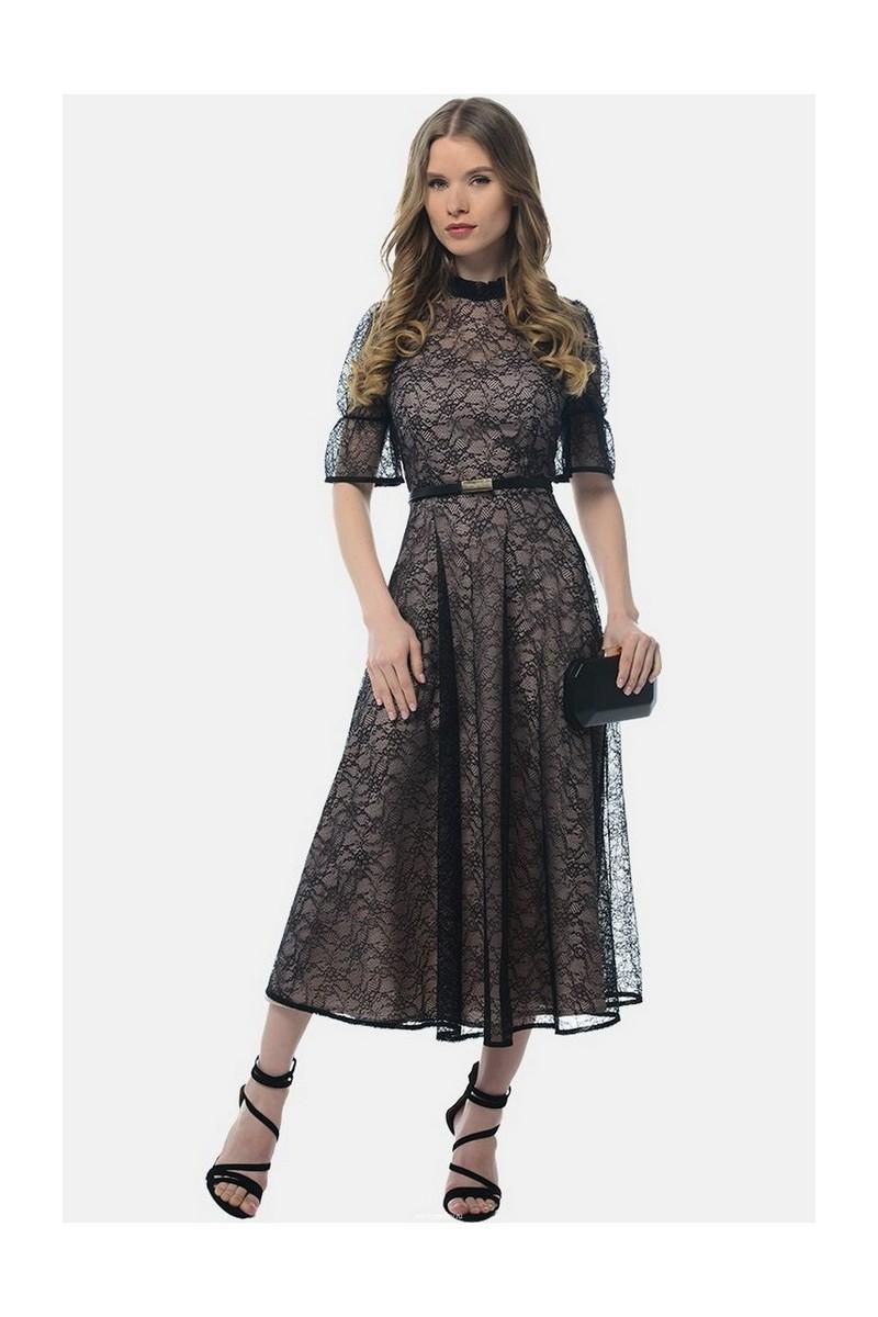 Buy Fitted black elegant guipure puffy skirt midi Retro dress, short sleeve stand-up collar zipper on the back dress