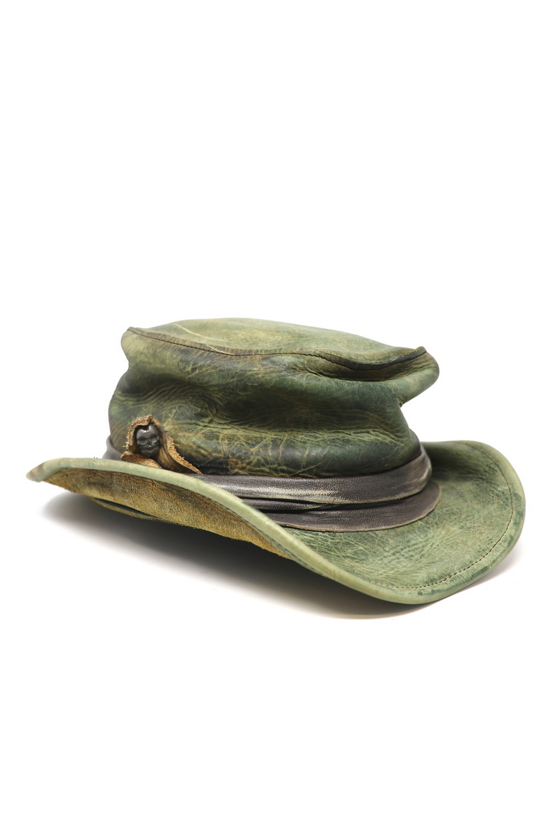 Buy Crumpled Vintage Green Top-Hat, Festival Party Rock Leather Handmade hat
