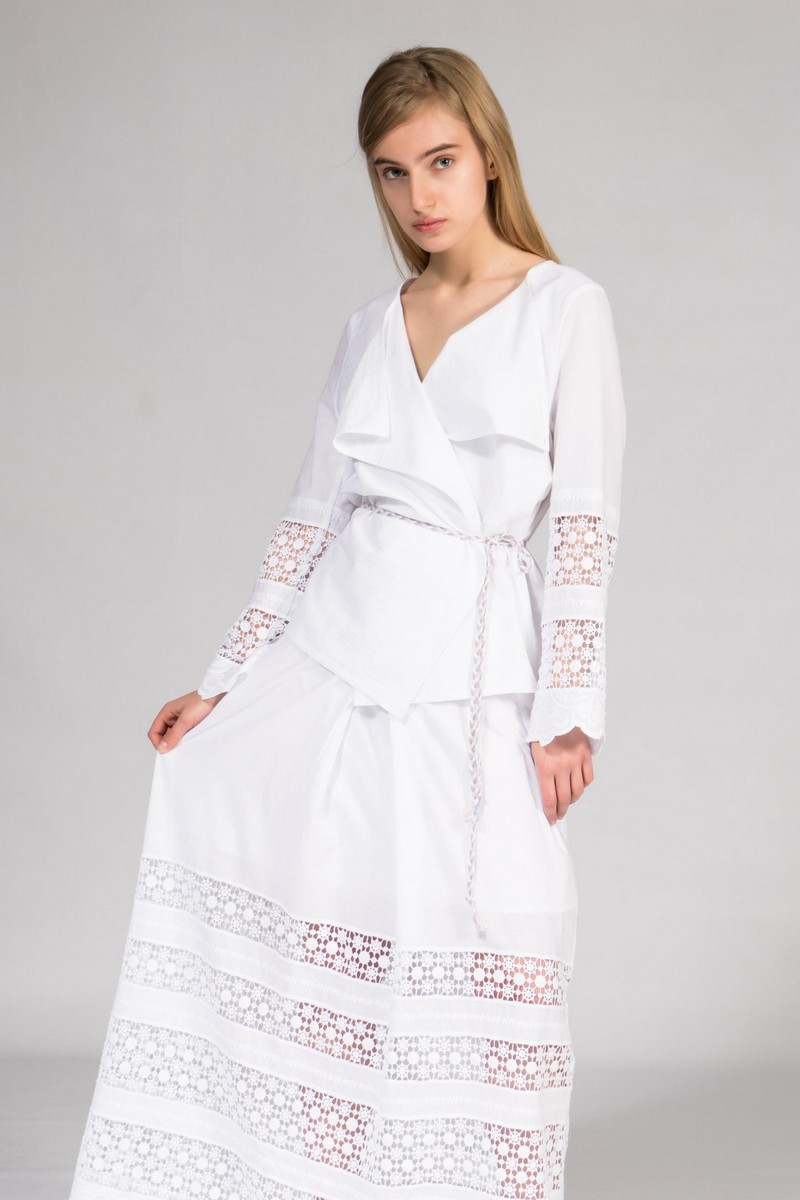 Buy Cotton white two-piece suit, lace long skirt casual summer suit