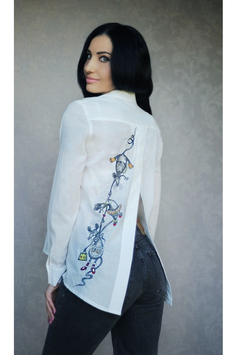Buy Exclusive white women's cotton embroidered shirt, comfortable original embroidered shirt
