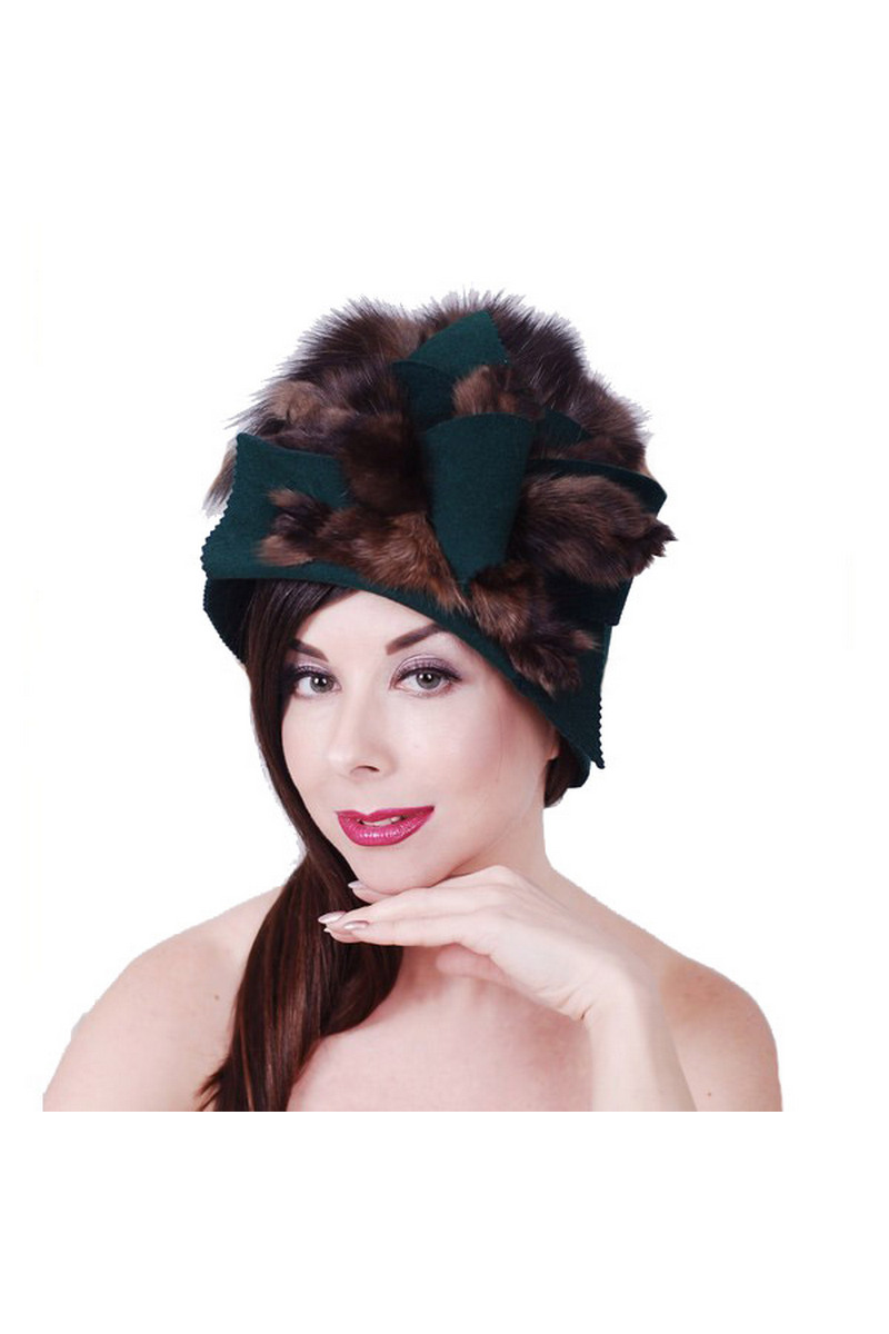 Buy Green felt sable fur hat, double sided retro style handmade hat