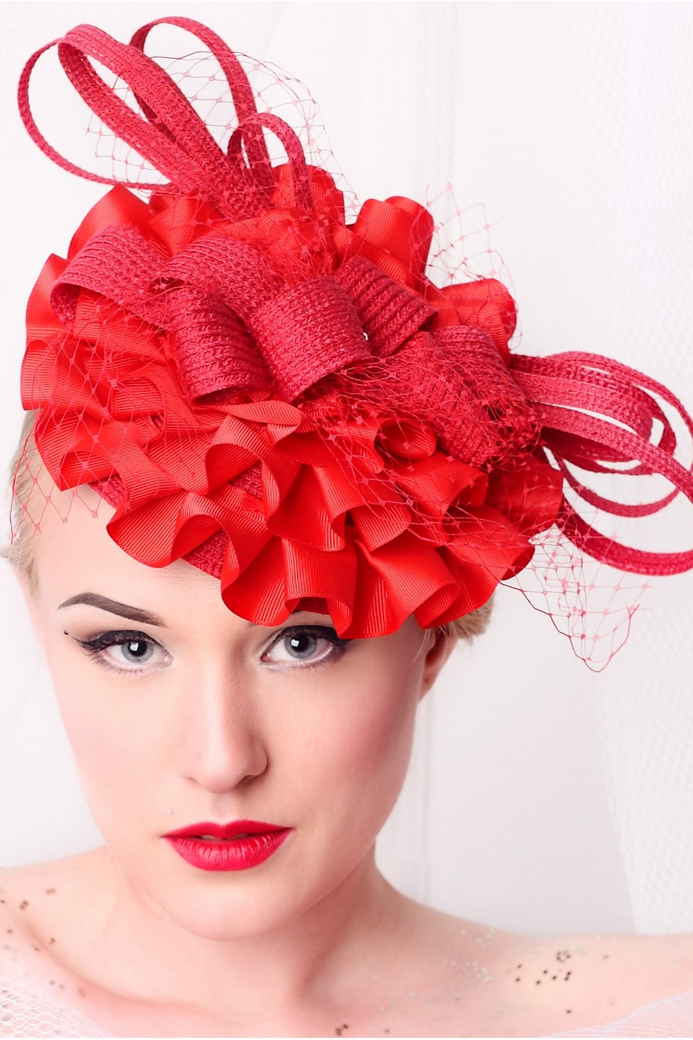 Buy Red Exclusive Summer Evening women's hat, Unique designer stylish hat for the holiday