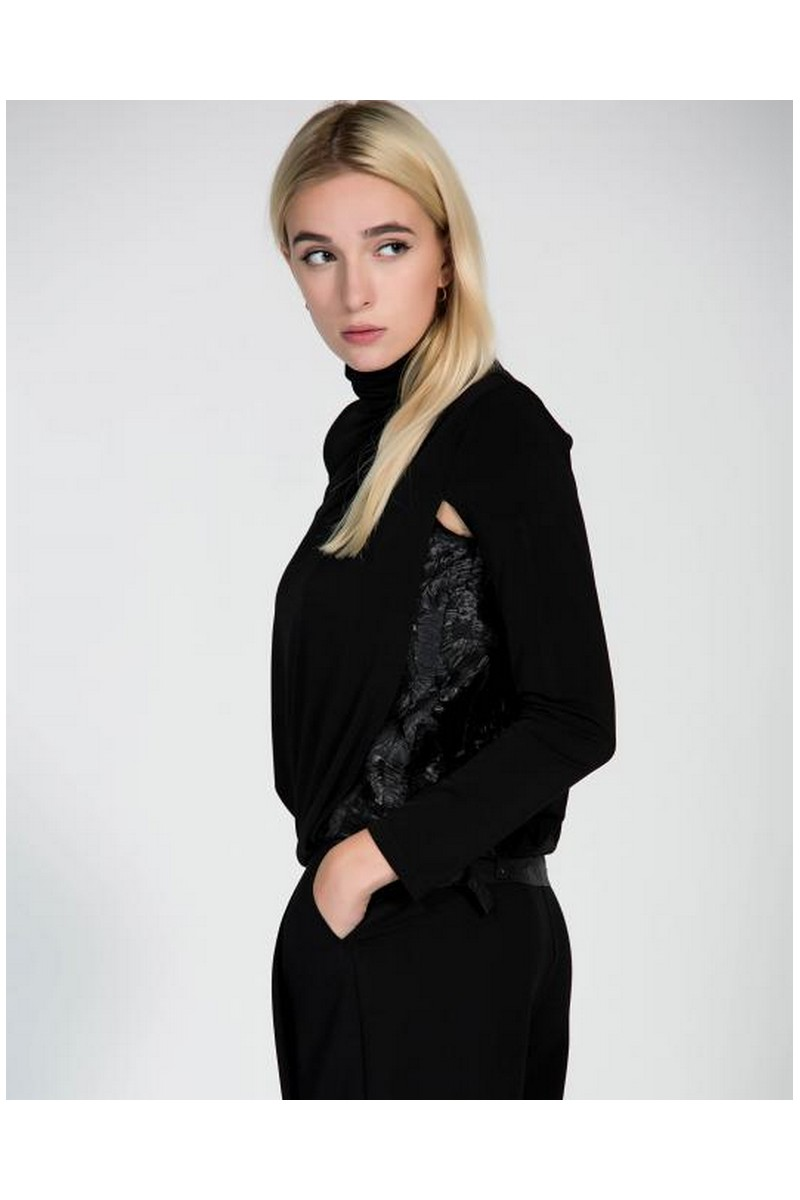 Buy Black women stylish party sweater with accents, comfortable unique designer clothes