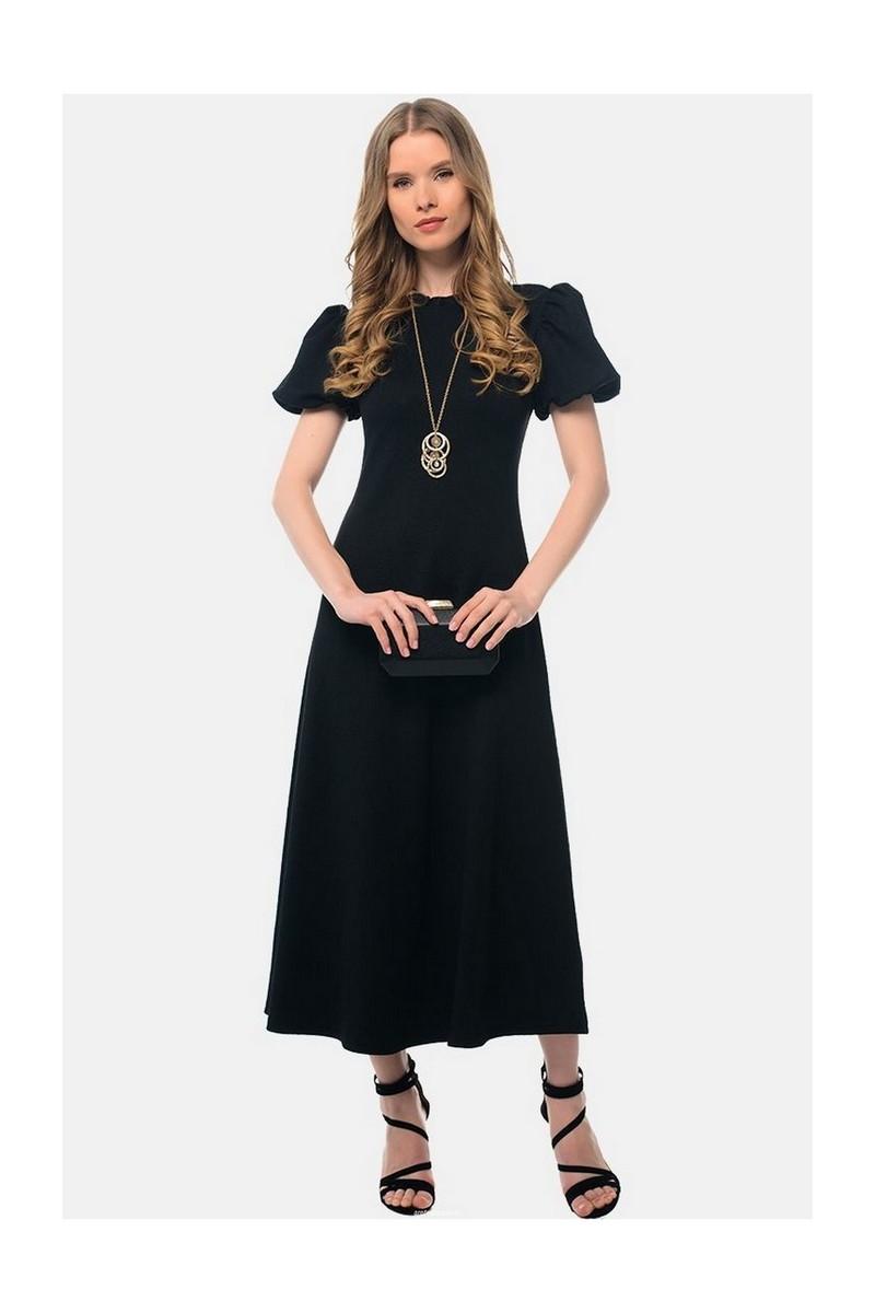 Buy Black midi elegant party evening dress, buttons short sleeve neckline dress