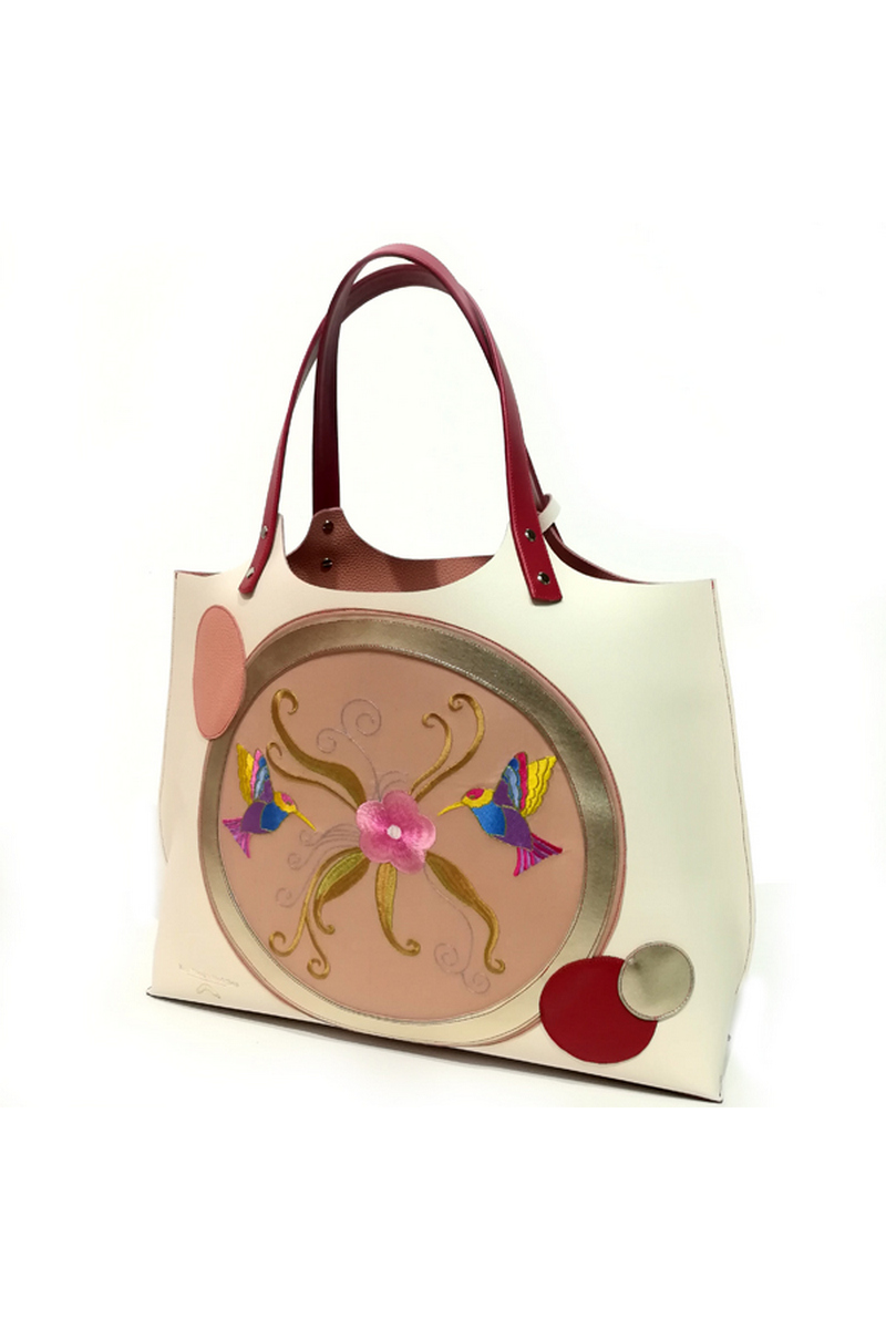 Buy Beige shopper handbag leather double-face embroidery comfortable stylish women