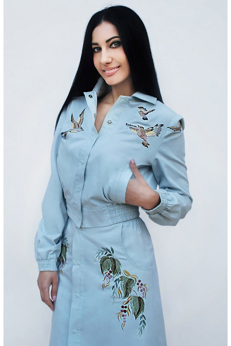 Buy Original designer embroidered blue cotton women suit with skirt