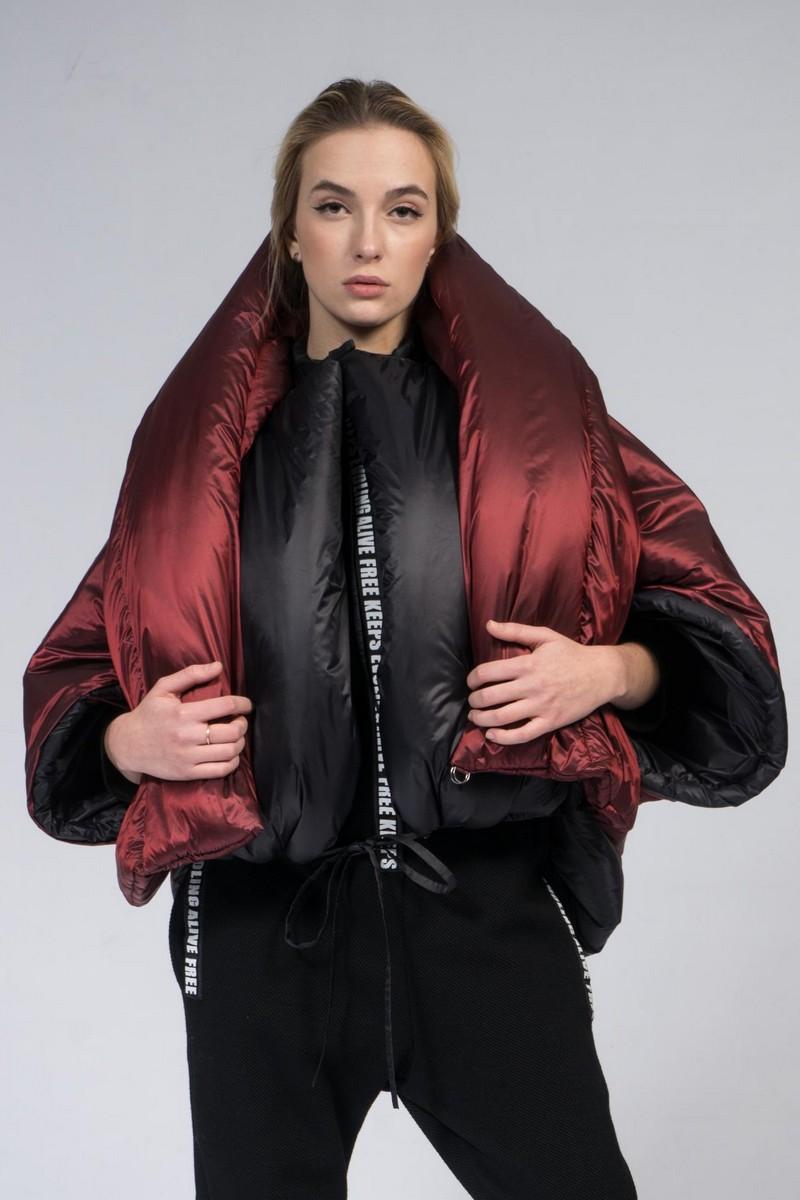 Buy Short double sided women transformer down jacket, black burgundy warm winter coat