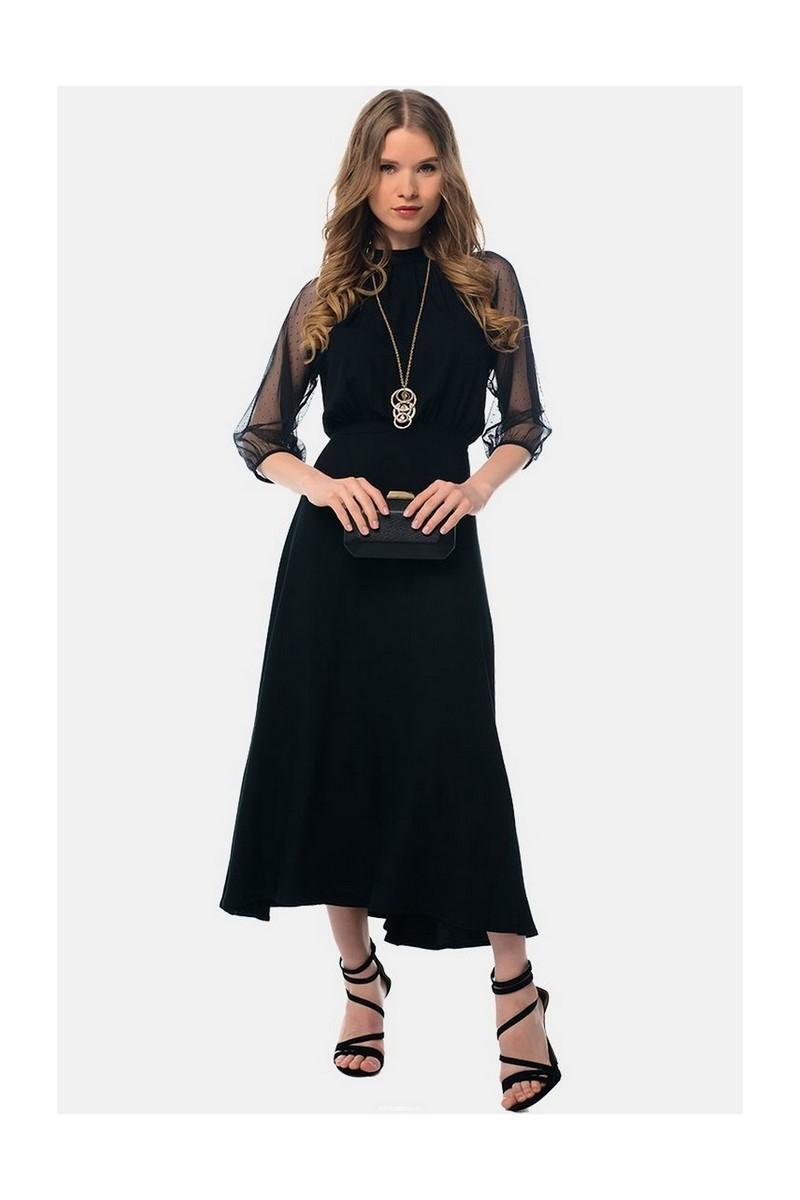 Buy Women's midi mesh elegant fitted dress,wide skirt 3/4 sleeve dress
