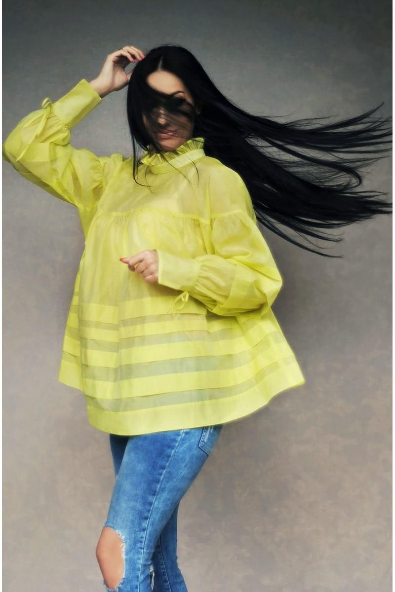Buy Stylish oversize blouse, yellow loose cotton shirt, Original catchy unique blouse