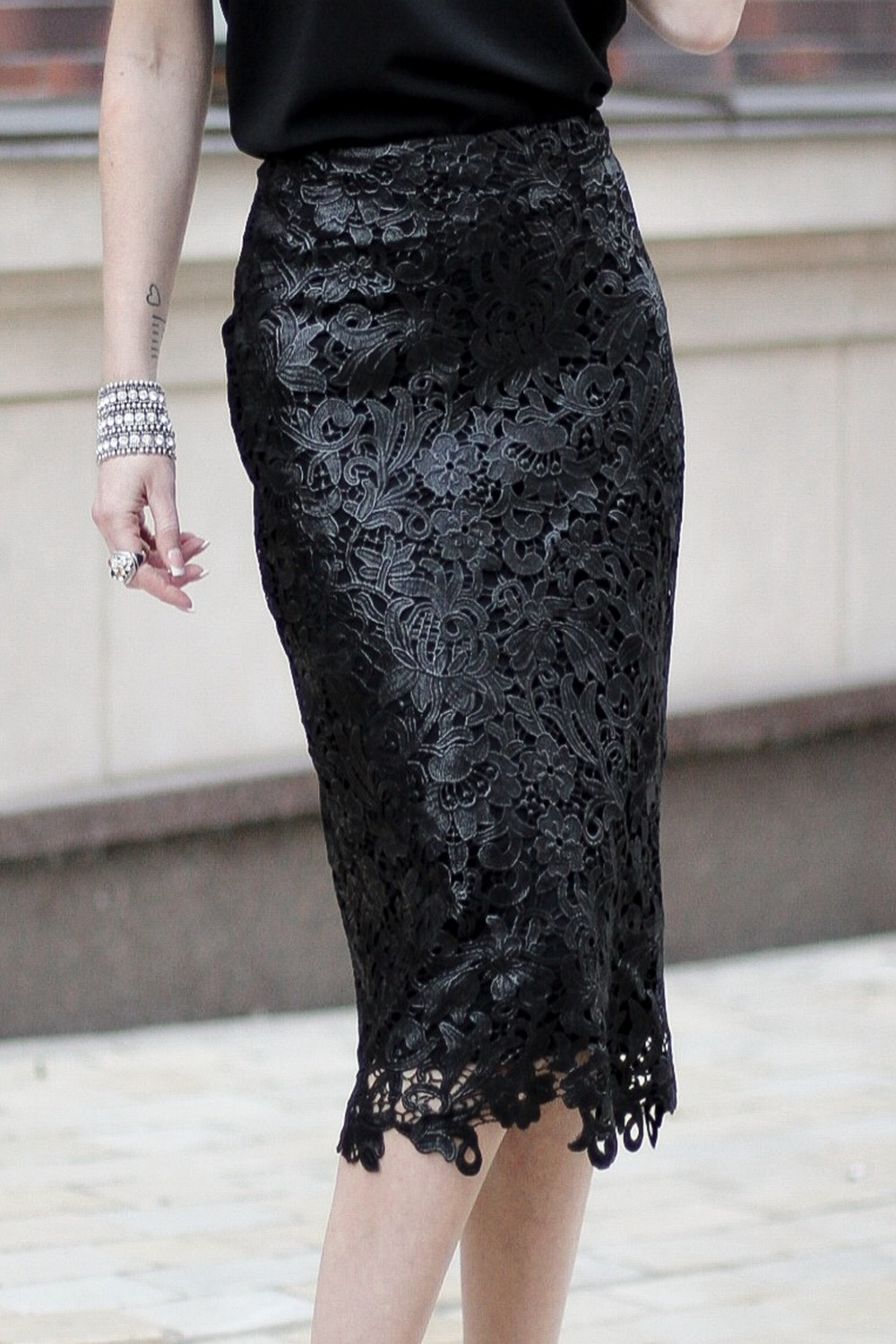 Buy Black Cotton Midi skirt, Everning Lace skirt, Zipper on a back skirt, Party Straight skirt
