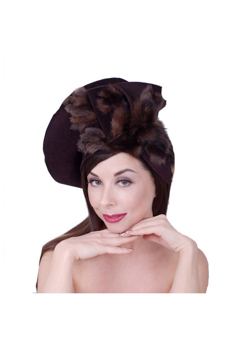 Buy Brown felt fur sable hat, Retro style original elegant women evening hat
