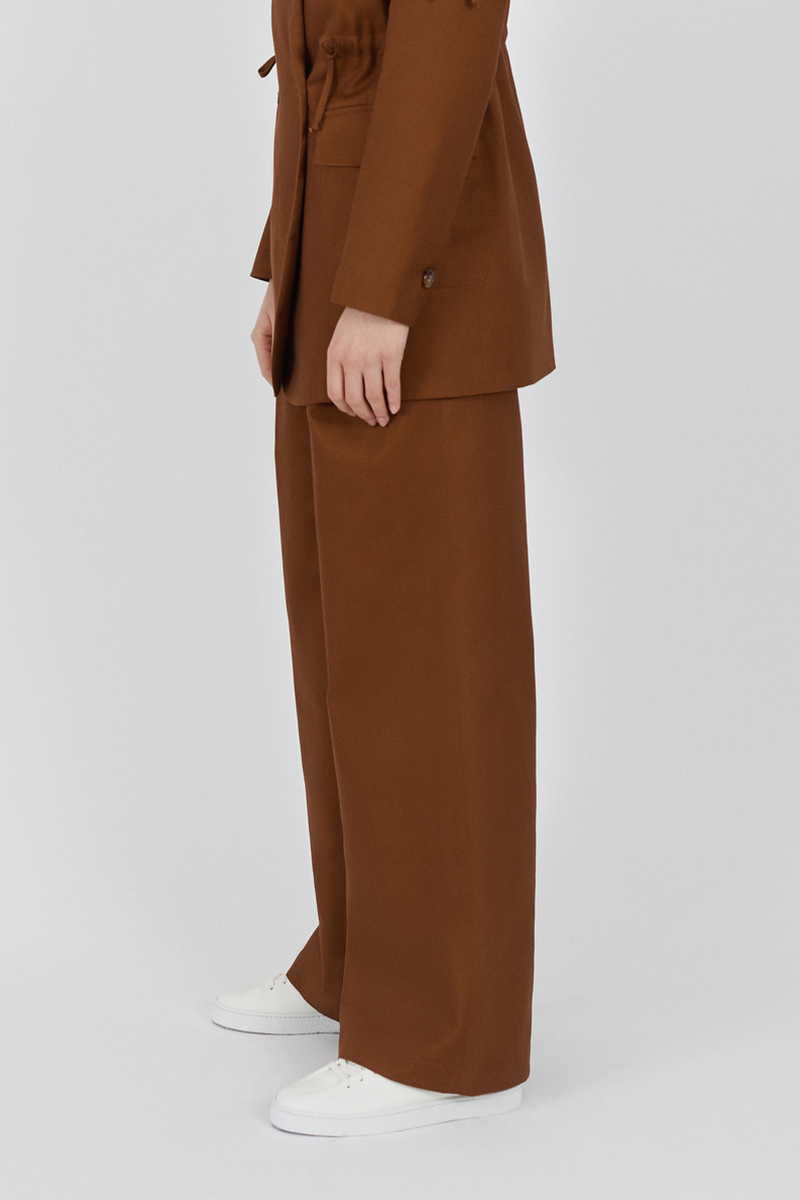 Buy High-rise brown loose trousers, pockets casual party women pants