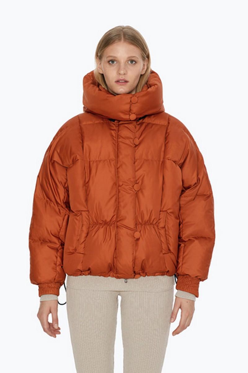 Buy Winter warm short comfortable female hood high collar downcoat