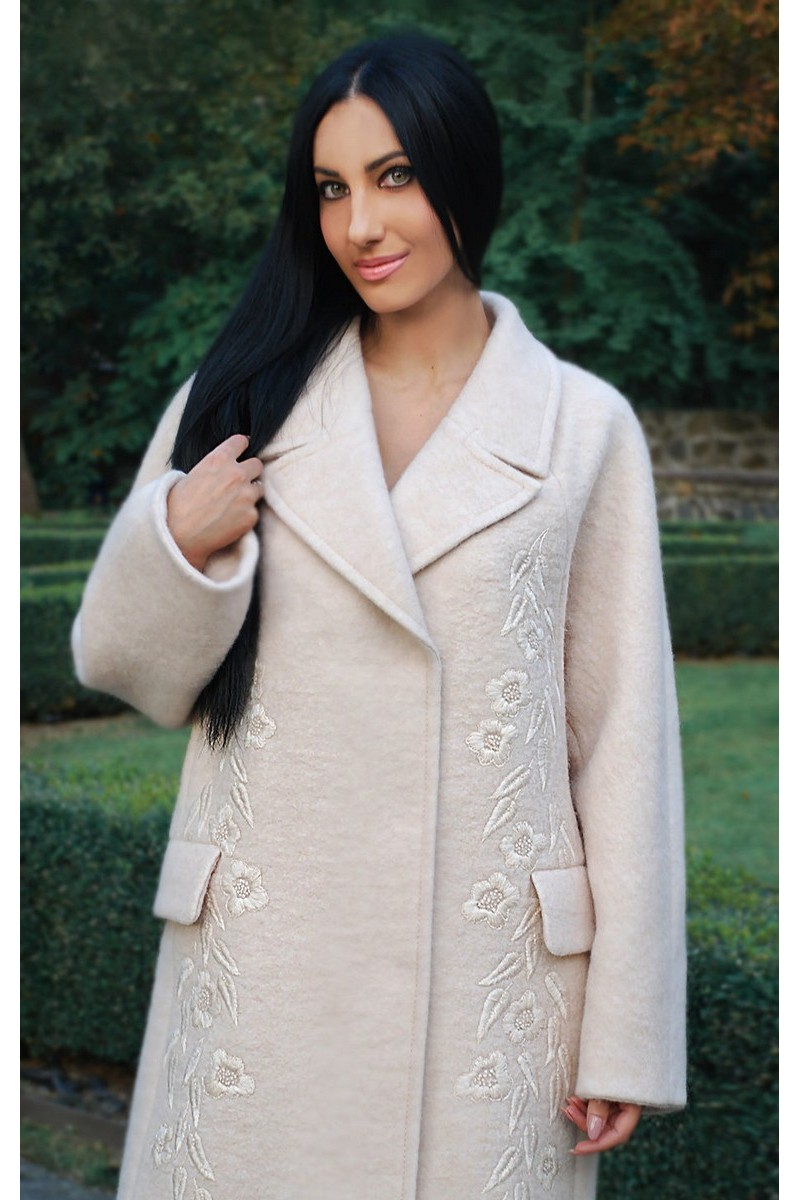 Buy Warm soft comfortable wool elegant pink women`s coat, Luxurious design coat