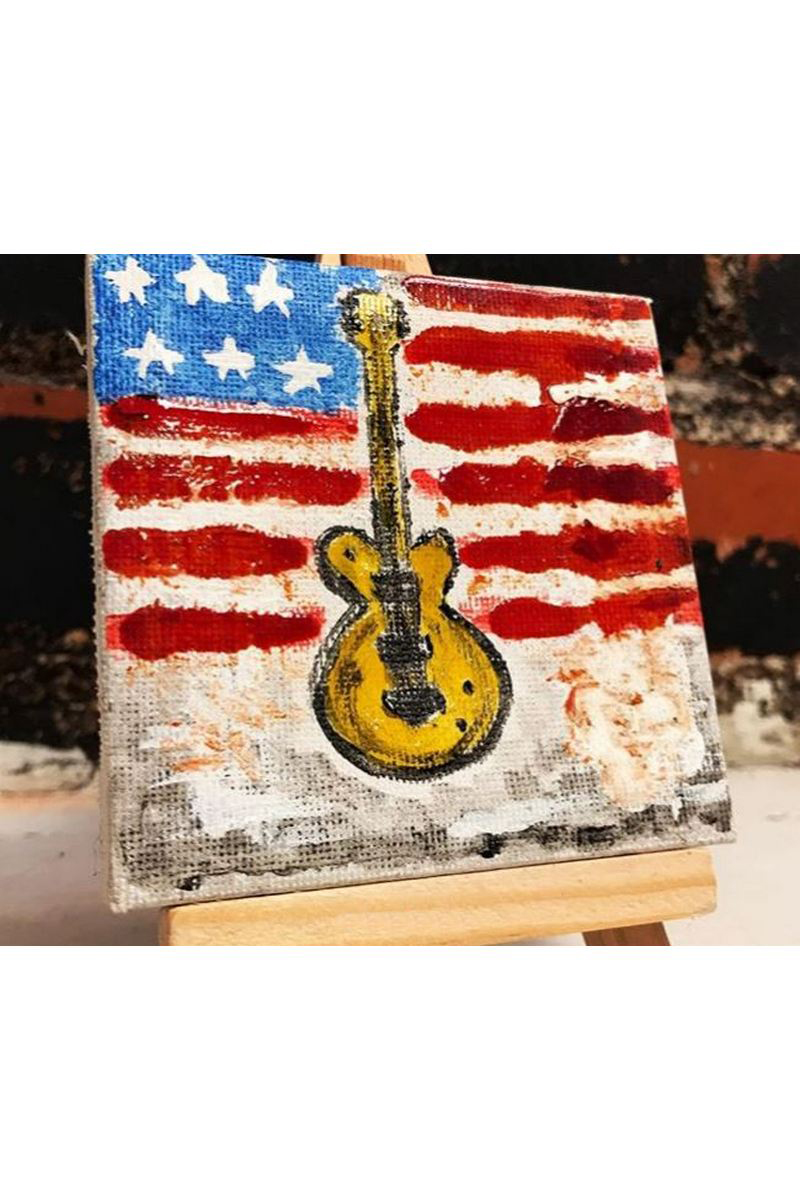 Buy Acrylic mini painting Guitar, modern art work canvas music style