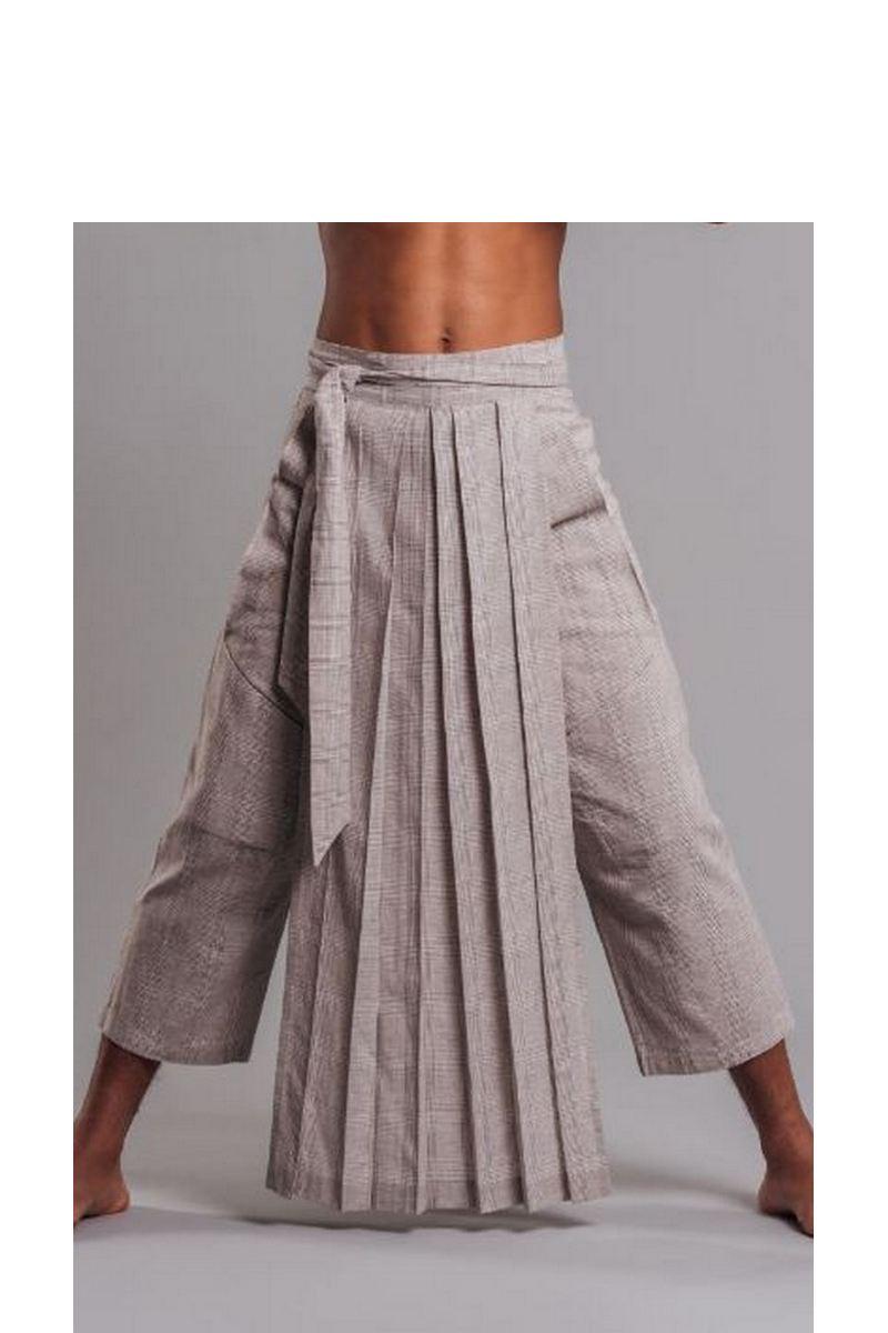 Buy Linen cotton men`s beige samurai capris for party, low waist pants with pockets