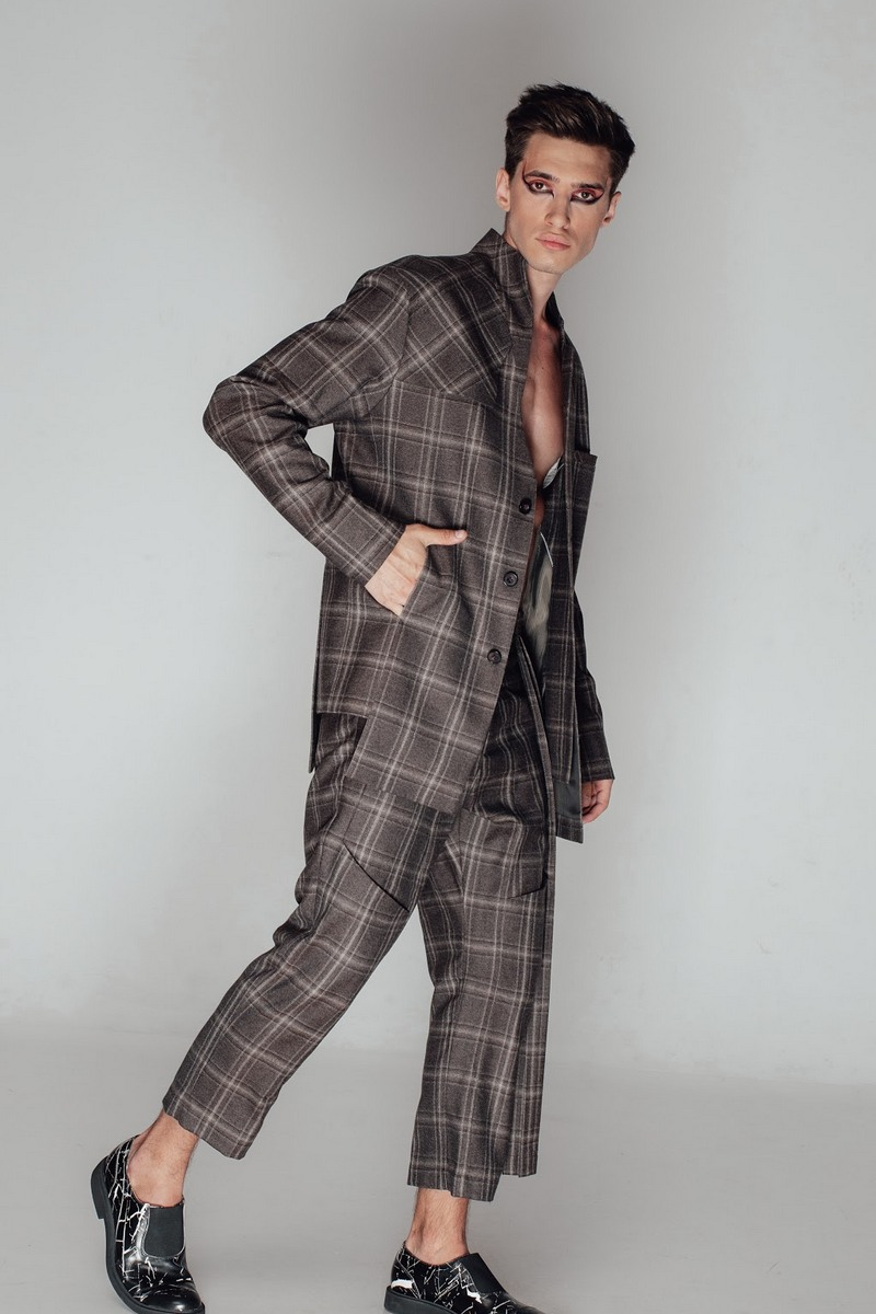 Buy Wool Brown Plaid Suit with Skirt for Men, Extravagant Comfy Fashion Men`s Suit