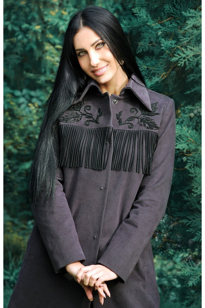 Buy Exclusive gray fringe embroidery handmade button coat stylish designer unique elegant coat