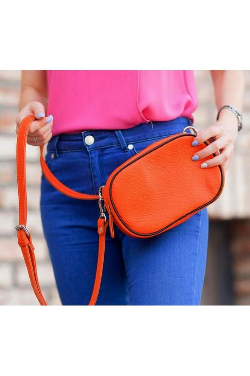 Buy Orange small women's leather belt shoulders bananka bag, Comfortable casual metal zipper bag